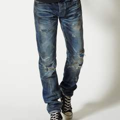 DISTORTED CRUSH REPAIR DENIM PANTS #STRAIGHT MPT-S1702A