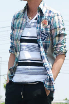 【AKM × daboro】 CRAZY CHECK SHIRTS DSH010-001