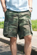 【ラスト1点-サイズM】 stretch rip-stop used wash military shorts 17SS-MPT006