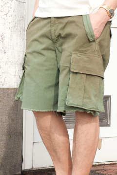 stretch rip-stop used wash military shorts 17SS-MPT006