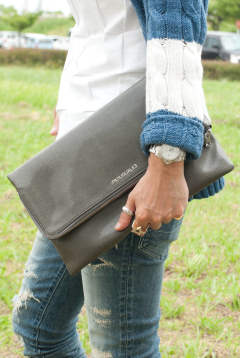 LIZARD FOLDED CLUTCH BAG made in ITALY / レザー クラッチバッグ USL-607