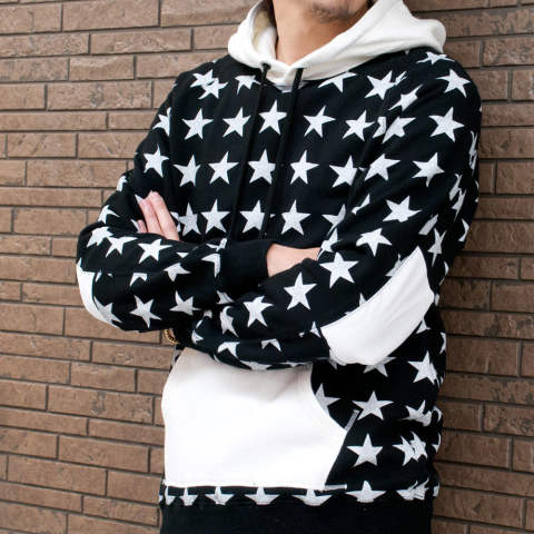 sweat pull over hoodie (star pattern) / スウェットプルオーバーパーカー / 18SS-MSW003