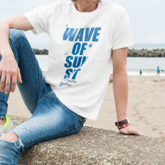 【Marbles×chemical conbination】 RUFFI JERSEY T-SHIRT (WAVE OF SUNSET) / プリントTシャツ / MST-S17CC01