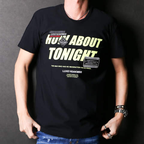 "HYBRID NECK ""HOW ABOUT TONIGHT"" COLOR S/S / ハイブリッドネック Tシャツ FV037-PU002"