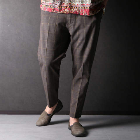 T/R GLENCHECK STRETCH / ONE PLEATS EASY PANTS M-19118